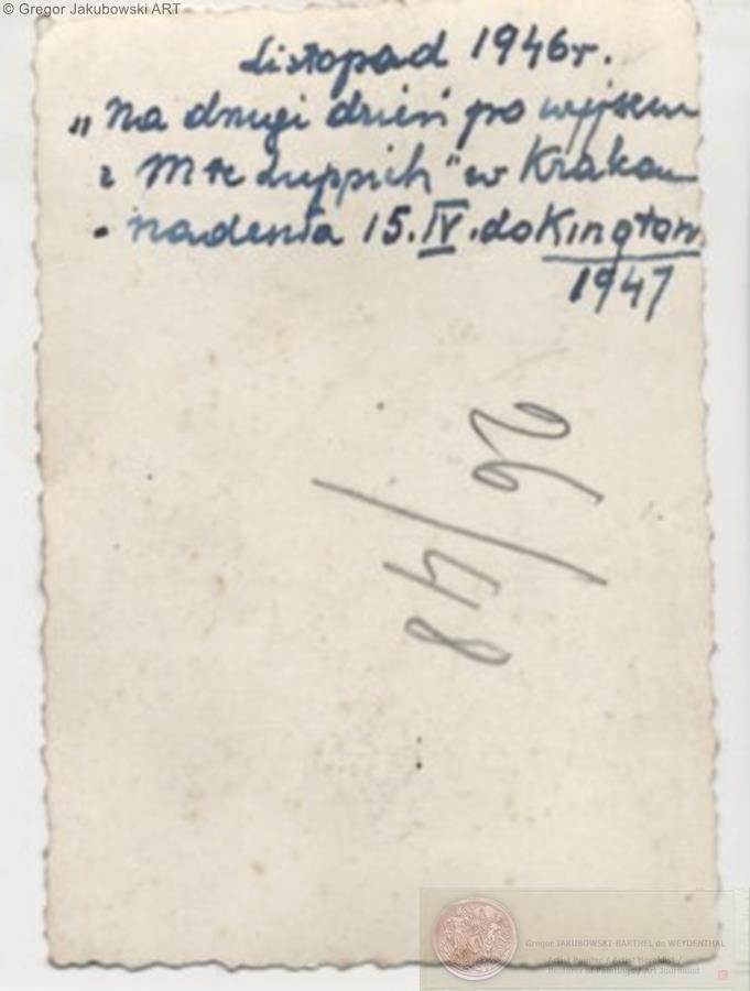 Aldona Jakubowska z Karolem po wiezieniu Montelupich,Krakow 1946 - opis: Tadeusz