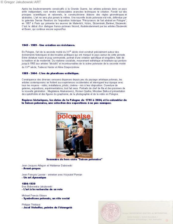 Saison Polonaise NOVA POLSKA 2004, BEAUX-ARTS Magazine