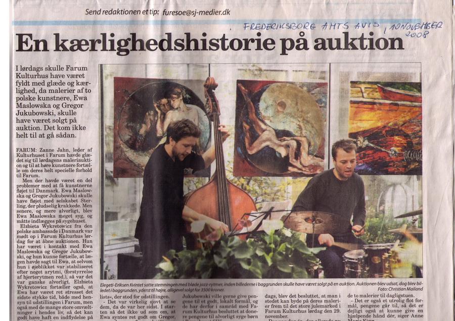 Ewa Maslowska & Gregor Jakubowski, Farum Art Auction, Denmark, November 2008