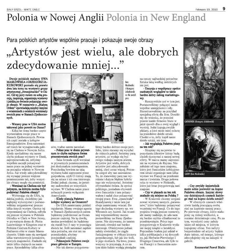 Ewa Maslowska & Gregor Jakubowski interview White Eagle, Boston, paintings: Katarzyna Maslowska, Caryathide