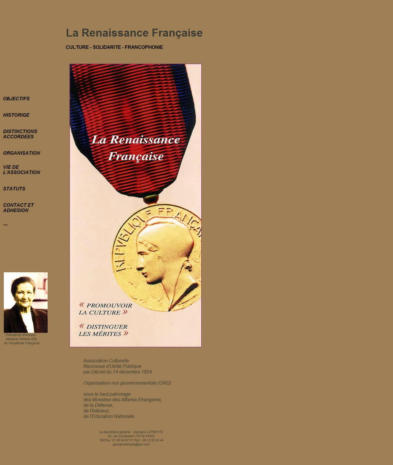 La RENAISSANCE FRANCAISE website