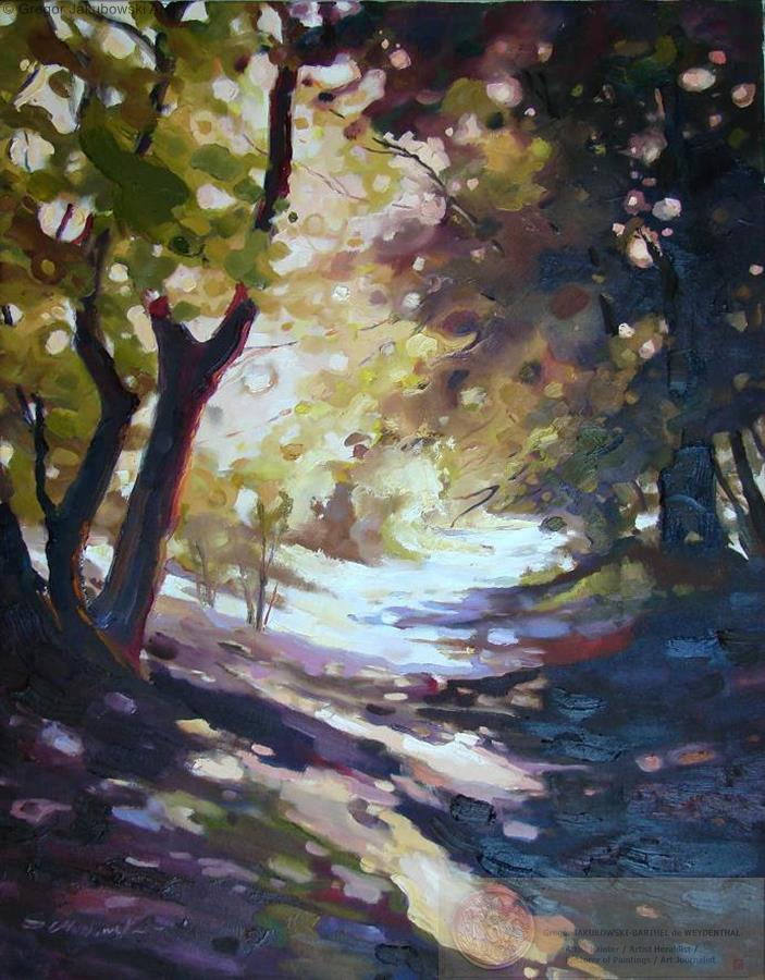 Ewa Maslowska_Forest Path1, oil, 92x73 cm, YIN & YANG, Ewa MASLOWSKA & Gregor JAKUBOWSKI, oil paintings, September 29 to October 10, 2009