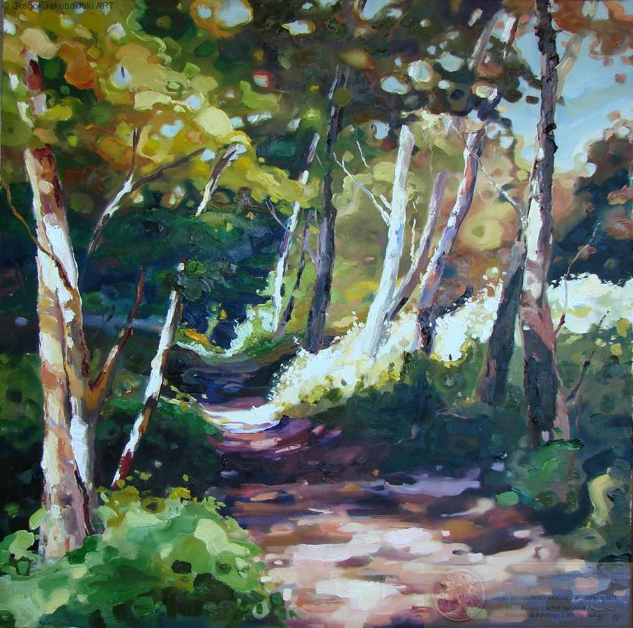 Ewa Maslowska_Forest Path2, oil, 100x100 cm, YIN & YANG, Ewa MASLOWSKA & Gregor JAKUBOWSKI, oil paintings, September 29 to October 10, 2009