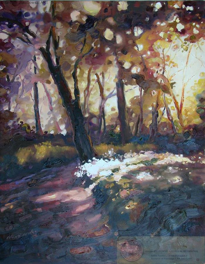 Ewa Maslowska_Forest Path3, oil, 92x73 cm, YIN & YANG, Ewa MASLOWSKA & Gregor JAKUBOWSKI, oil paintings, September 29 to October 10, 2009