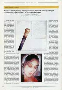 Skarby kultury polskiej ze zbiorow Biblioteki Polskiej w Paryzu, Gazeta Antykwaryczna, Krakow, X 2004