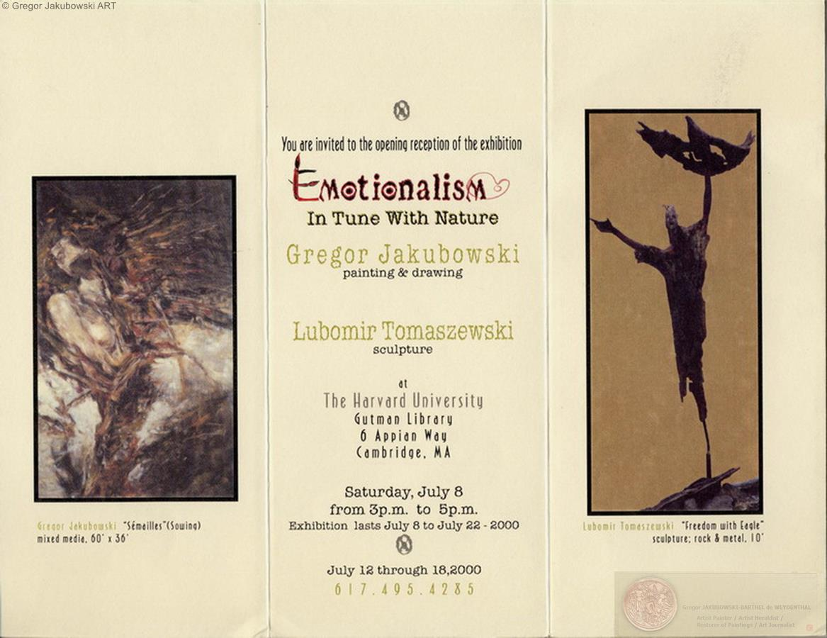 POLISH-AMERICAN ART & EMOTIONS, Harvard University, Gregor Jakubiwski & Lubomir Tomaszewski, 2000