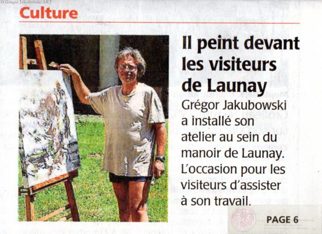Courrier 1ere, article Gregor Jakubowski, Dans la Cour du Roi Rene, Manoir de Launay, 2016