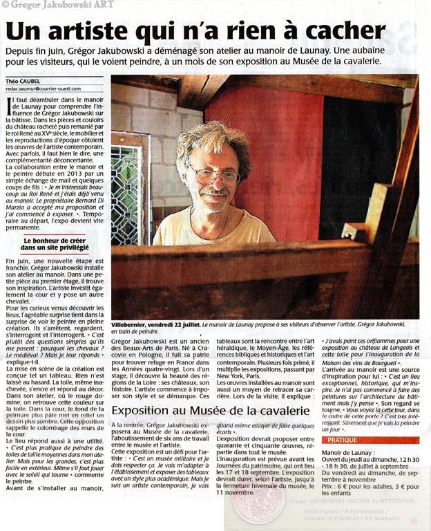 Courrier,article Gregor Jakubowski, Dans la Cour du Roi Rene, Manoir de Launay, 2016