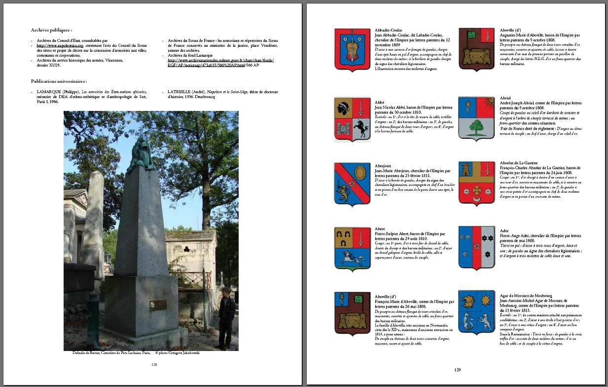 ARMORIAL du PREMIER EMPIRE par Philippe LAMARQUE, 2008, iconographie heraldique, photos & reconstruction of coats of arms of the Empire : Gregor Jakubowski