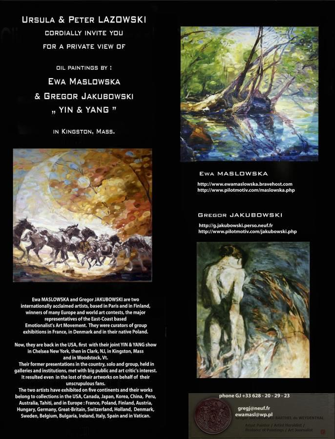 YIN & YANG, Ewa MASLOWSKA & Gregor JAKUBOWSKI, oil paintings, private view in Kingston, Mass. October 7, 2009
