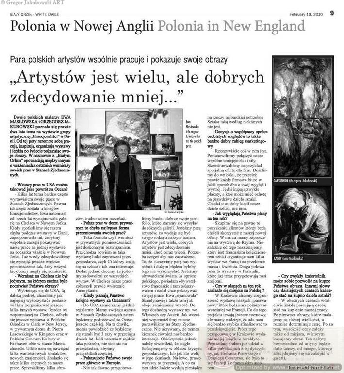 Ewa Maslowska & Gregor Jakubowski interview White Eagle, Boston, paintings: EM: Kasia Maslowska, GJ: Caryathide