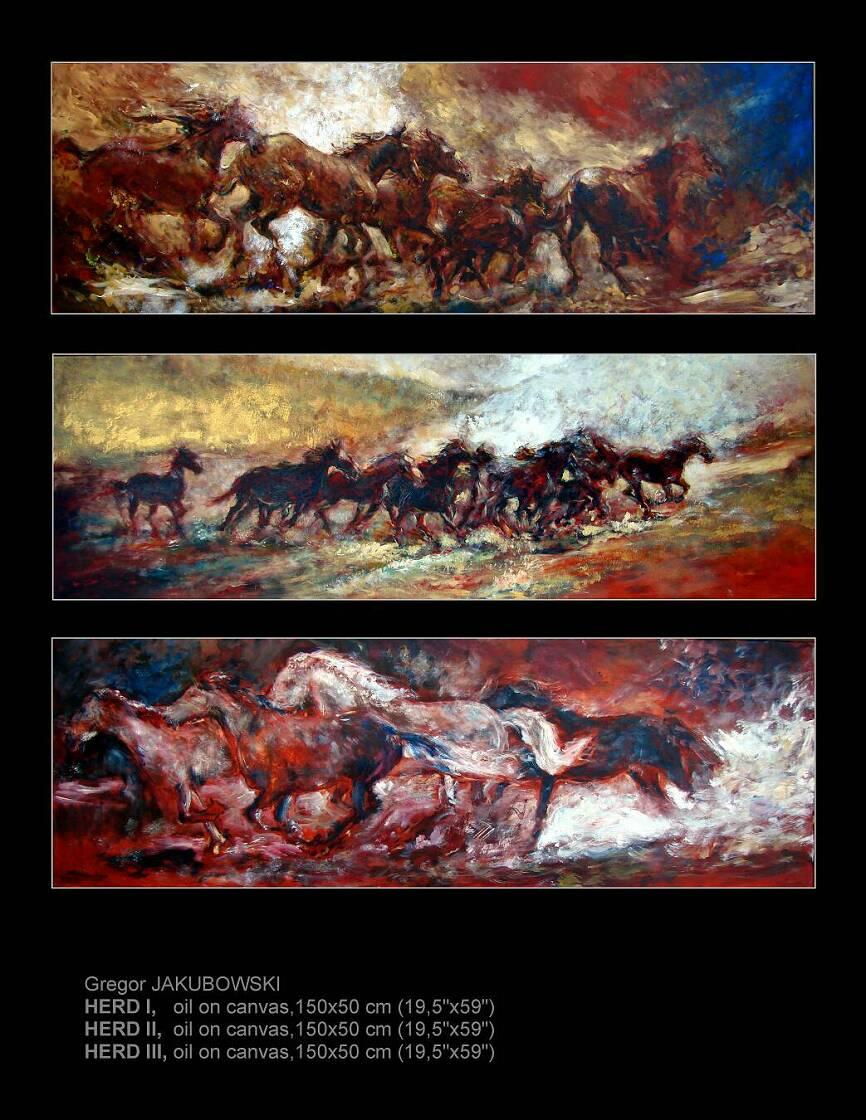 YIN & YANG, Hoofbeats I, II, III, 50x150 cm