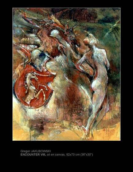 Gregor Jakubowski: Composition Heraldique : DRAGONS, oil, 1998