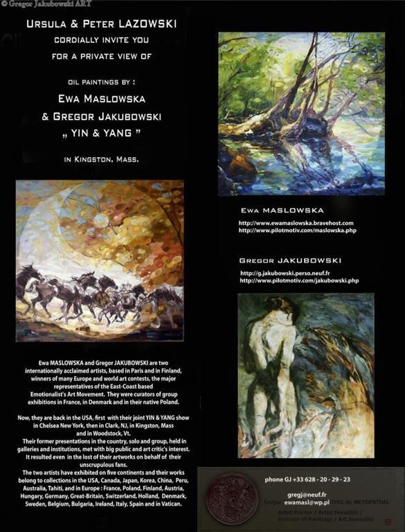 YIN & YANG, Ewa MASLOWSKA & Gregor JAKUBOWSKI, oil paintings private view in Kingston, Mass. October 7, 2009