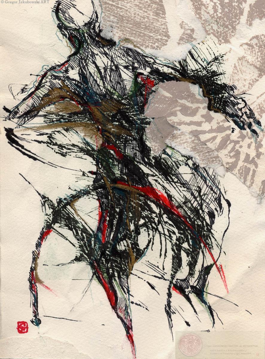 CHINA INK Drawing - Gregor JAKUBOWSKI - Silhouette