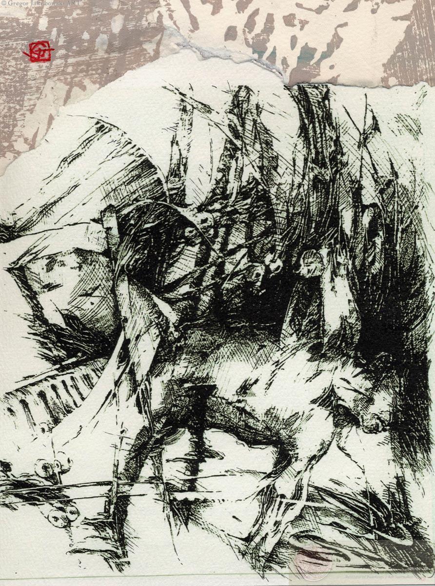 CHINA INK Drawing - Gregor JAKUBOWSKI - Silhouette IVI