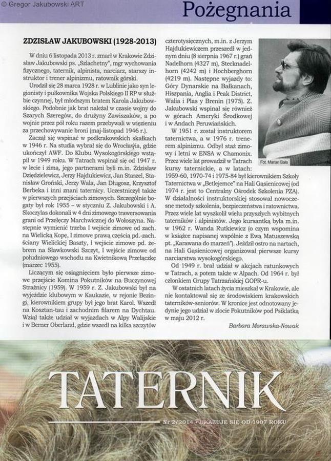 Zdzislaw Jakubowski, Taternik 2/2014, Barbara Morawska-Nowak