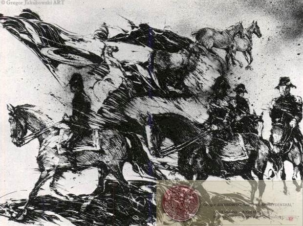 CAVALIERS, China ink, 100x70 cm, 39x28