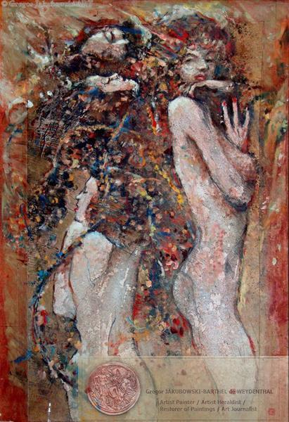 Variations theme de Klimt, mixed media