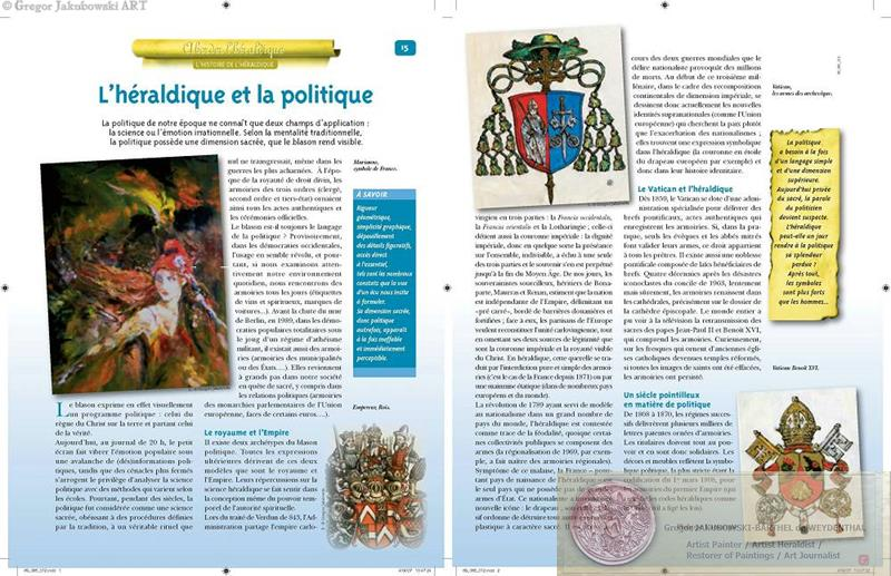 HERALDIQUE, Editions Hachette Collections, PARIS, Genealogie Facile, texte : Philippe Lamarque - MARIANNE painting, Vatican coat of arms, Benedict XVIth coats of arms - by of Gregor Jakubowski