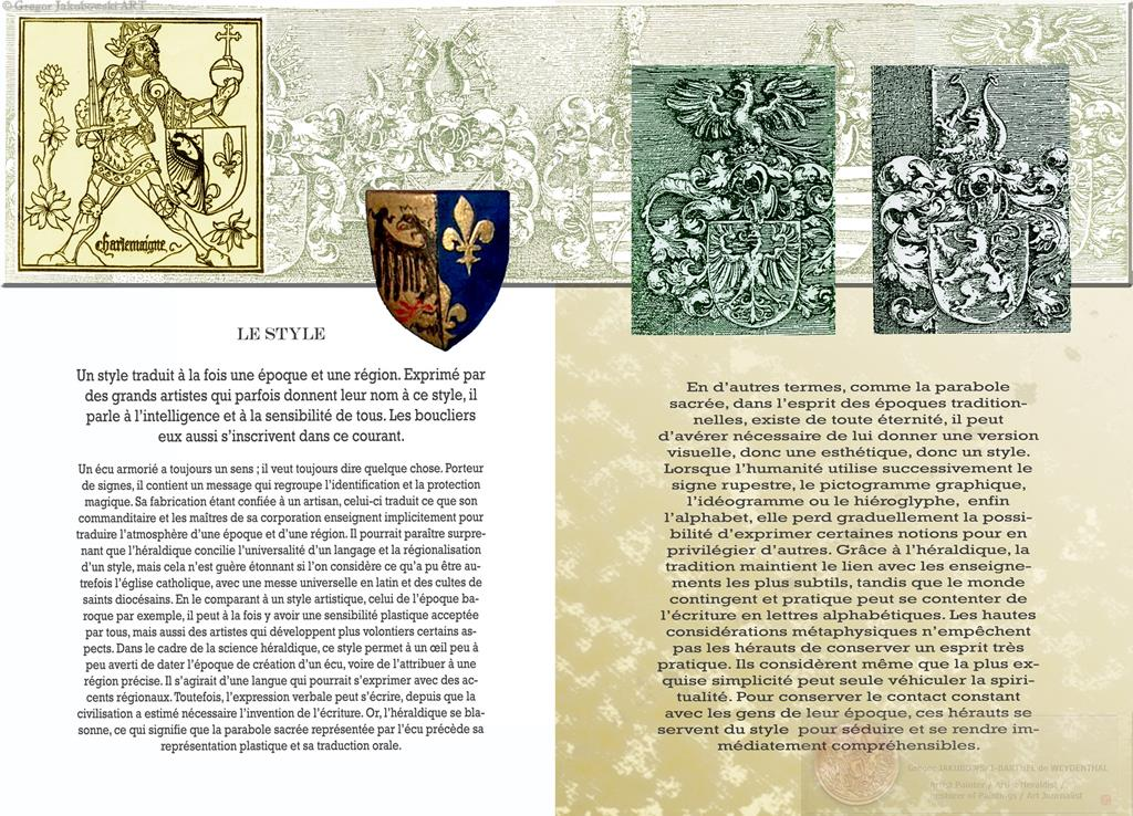 VOYAGE DANS L'HERALDIQUE par Philippe LAMARQUE, Editions COPRUR , STRASBOURG 2013, heraldic & symbolic iconography, coats of arms by Gregor Jakubowski _ Le Style