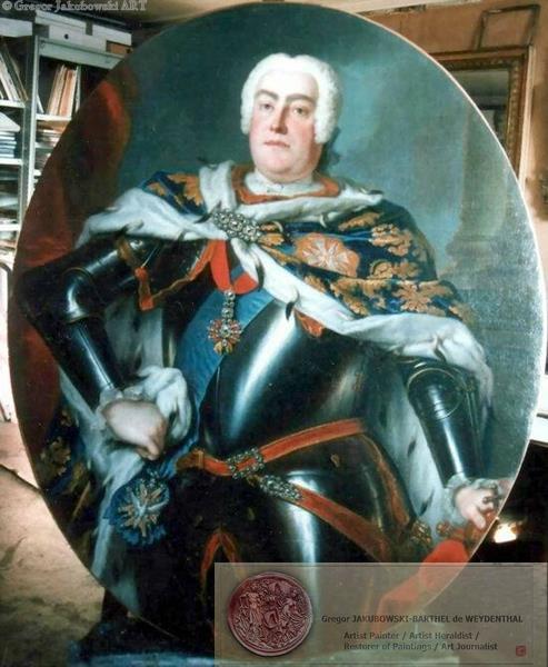 Auguste III de Saxe, att.Silvestre Painting restored by G.J.