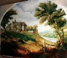 GJ: Abbaye de PASSY, Musee du VIN, PARIS oil painting, 450x320 cm (177''x126'')