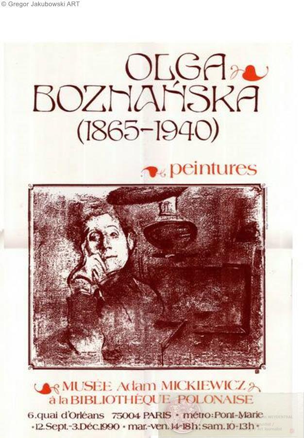 MUSEUM EXHIBITIONS : Olga Boznanska in the Adam Mickiewicz Museum in 1990 in the Biblioteka Polska in Paris exposition avec catalogue